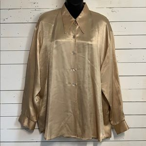 Vintage 80's 90's Oversized Gold Button Up Shirt